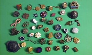 Junk Drawer Lot 49 Vintage PINS Metal Buttons Pendants Charms Fraternal & Other