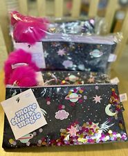 More Than Magic Galaxy Pencil Pouch Black Outer Space Theme w/Pom-Pom Zip, Nwt