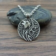 Valknut Vikings Amulet Pendant Necklace Norse Wolf and Crow Necklace Jewelry