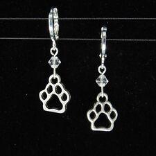 *SJ1* Dog Cat Paw Charm Sterling Silver Dangle Earrings w/ Swarovski Crystal