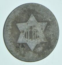 RARE Silver Trime Worn Date Three Cent Silver 3 Cent Early US Coin Look up! *041