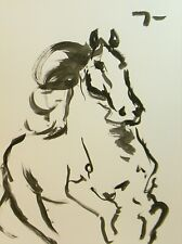 Jose Trujillo Ink Wash New 18x24 Running Horse Stallion Painting Equestrian Art