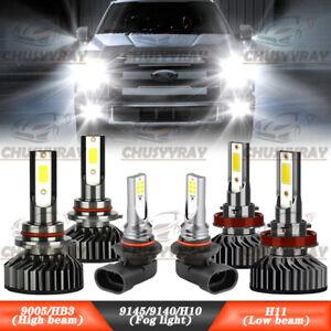 For Ford F 150 2015-2020 6000K Front LED Headlight Hi/Lo Beam + Fog Light Bulbs