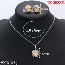 New Stainless Steel Necklace Pendant Earrings Pan Golden Sets