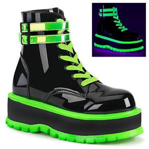 Demonia SLACKER-52 Women's Black Patent UV Iridescent Green Platform Ankle Boots