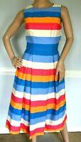 $2,590 Carolina Herrera Tie Back Rainbow Striped Runway Midi Dress IT 38 / US 2