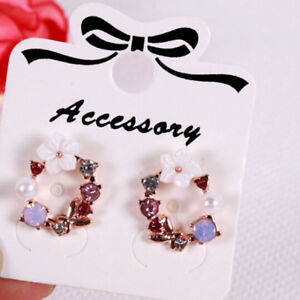 100x Jewelry display card earrings ear studs packing hang tag rectangle*holdY Q^