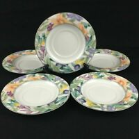 Set of 5 VTG Saucer Plates by Mikasa of California Magic Garden Fruit Flowers