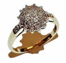 Fully Hallmarked 9ct Yellow Gold & 0.05ct Diamond Cluster Ring - UK Size: P