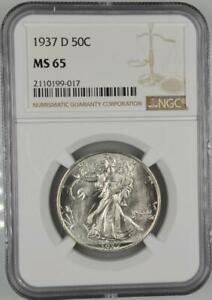 1937-D Walking Liberty Half Dollar NGC MS 65 No Reserve Auction 99C Opening Bid