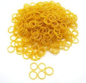 "500 Mini Yellow Hair Elastics Rubber Braiding Plaits Small Bands 3/8"" 9.5 mm"