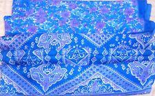 WEARABLE SILK BLEND ANTIQUE VINTAGE SARI SAREE 5 YD Ga21 Off-white Blue #ABHUJ