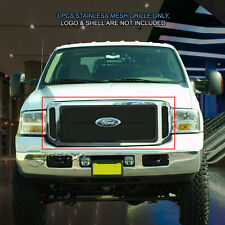 Stainless Steel Black Mesh Grille Grill Upper For 05-07 Ford F250 F350 F450 F550