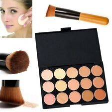 15 Colors Compact Contour Concealer Face Powder Brush Sponge Makeup Palette Tool