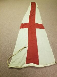 """VINTAGE nautical ship MARINE Project HOPE FLAG banner red cross & white  """"8"""" 15"""