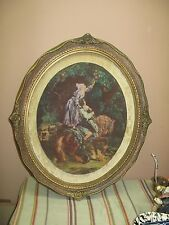 """Vintage Artini Engraving Twin Etched Painting Ornate Frame 20"""" x 23"""" - 12"""" x 15"""""""