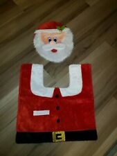 2Pcs Santa Claus Toilet Seat Cover Rug Christmas Bathroom Set Home Decorations