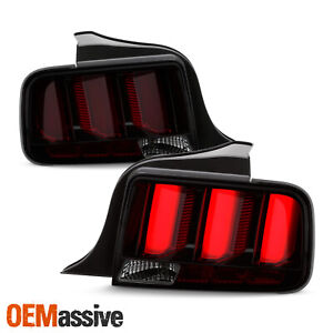 For 05-09 Ford Mustang Red Tube LED Chrome Smoked Tail Light w/Sequential Signal