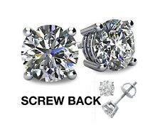 2CT Lab Created Diamond 14K White Gold Round Cut Screw Back
