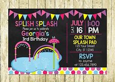 Pink Girl Splash Pad Theme Personalized Printed Chalkboard Birthday Invitations