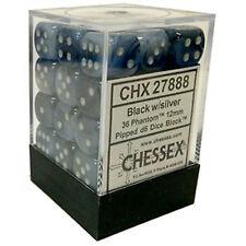 Chessex Dice (36) Block Sets 12mm D6 Phantom Black/Silver Pips 36 Die CHX 27888