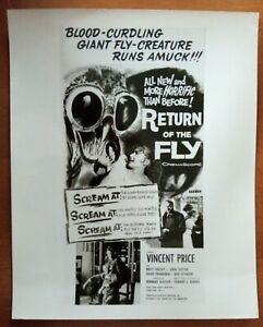 POSTER ART PRESS PHOTO RETURN OF THE FLY Vincent Price