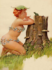 Vintage Pin Up Art Hilda  11 x 17 Matte Paper Pin Up Plus Size #132 Squirrel
