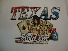 Texas Hold 'Em Kings Over Queens Poker Game Sexy Cowgirl White T Shirt 2XL