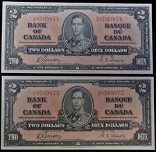 BANK OF CANADA 1937 - 2 CONSECUTIVE $2 BANK NOTES - Prefix U/B - Gordon & Towers