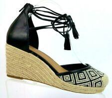 Comfortview Ryann Black & White Natural Ankle Strap Wedge Sandals Women's 9 W