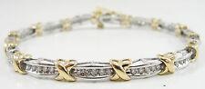 """10K Yellow White Two Tone Gold 1.5 CTW Diamonds XO Tennis Bracelet 7 1/8"""""""