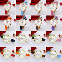 Women Fashion Leather Band Analog Quartz Casual Round Wrist Watch Gold Watches