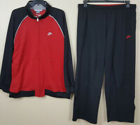 NIKE BASKETBALL TRACK SUIT JACKET + PANTS RED BLACK BRED RARE (SIZE 2XL / 3XL)