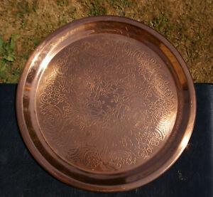 "Vintage Copper Serving Tray Platter 12 1/8"" Floral Etched Plate Flowers Leaves"