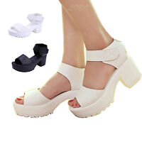 Womens Ladies Open Toe Strappy High Heel Chunky Platform Shoe Prom Casual Sandal