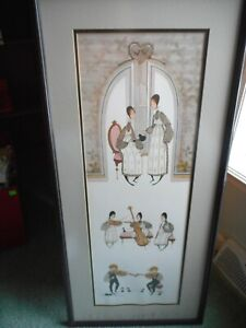 P. Buckley Moss print women having tea, kids with musical instruments 600/1000