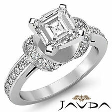 Glistening Asscher Diamond Antique Pave Engagement Ring GIA F SI1 Platinum 1.5ct