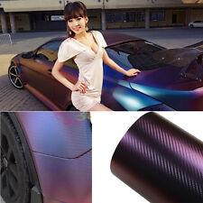 1.52mx20m Car Chameleon Carbon Fiber Vinyl Wrap Sticker Films Purple With Blue