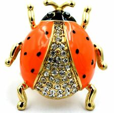 Ladybug Stretch Ring Crystal Rhinestone Animal Bling Jewelry Orange-Clear RA26
