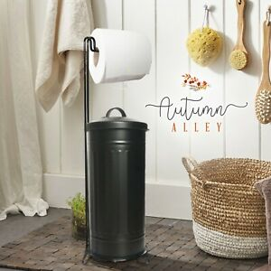 Autumn Alley Rustic Farmhouse Black Toilet Paper Holder Stand