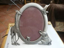 VINTAGE 1993 SEAGULL MADE IN CANADA NOVELTY WILD ANIMAL BEAR PEWTER PHOTO FRAME
