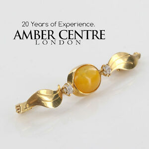 Italian Made German Baltic Butterscotch Amber 14ct Gold Brooch GB0021Y RRP£600!!