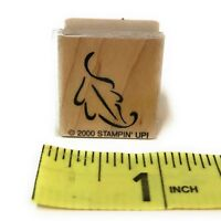 """Stampin Up Wood-Mounted Rubber Stamp 2000 Falling Tree Leaf Fall Autumn 1"""" x 1"""""""