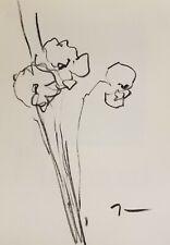 JOSE TRUJILLO Original Signed Charcoal Paper Sketch Drawing 9X12 FLOWERS MINIMAL