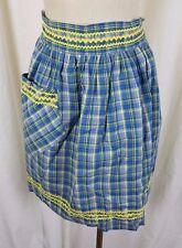 Vintage Gingham Girl Plaid Drehbar Schürze Mid Century Textil Baumwolle Ric Rac
