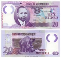 Mozambique 20 Meticais 2017 Polymer P-149b Banknotes UNC