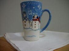 "New Sonoma Home button up 6"" Latte Christmas Mug Frostie Scene Hot Cocoa Coffee"