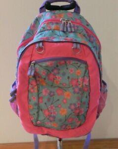 Garnet Hill Kids Backpack Pink Lavender Teal Floral.
