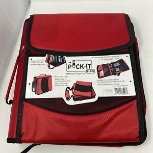 "NEW  Pock-It Plus Ultimate Organizer for School 4"" Zipper Organizer Black  Red"