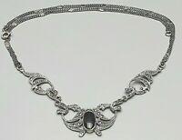 Art Deco Silber Collier 925 Silber Onix & Markasiten 45 cm lang / A 681